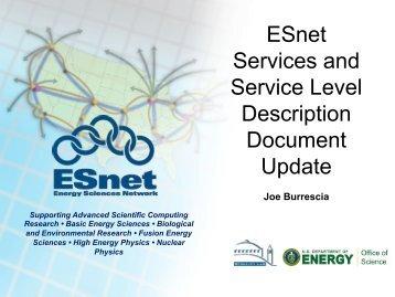 ESnet Services and Service Level Description Document Update