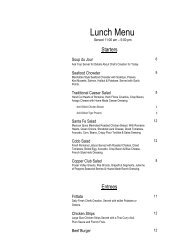 Lunch Menu - Executive Hotels and Resorts