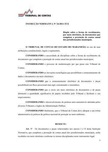INSTRUÇÃO NORMATIVA Nº 24/2011-TCE Dispõe ... - Tce.ma.gov.br