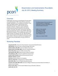 Meeting Summary - Patient Centered Outcomes Research Institute