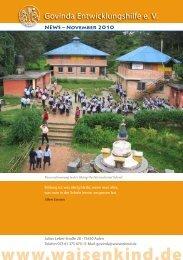 Govinda Entwicklungshilfe e.V. Newsletter - November 2010