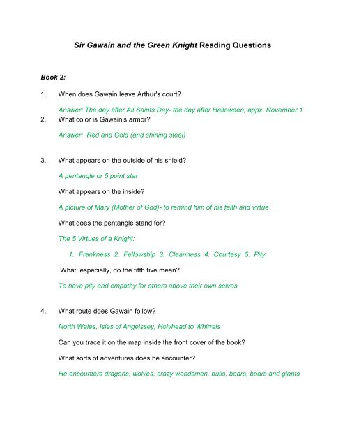 sir gawain and the green knight reading questions answers part 1