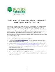 Purchasing Card Manual - Southern Polytechnic State University