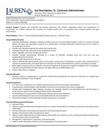 Administrator Position Job Description And Requirements
