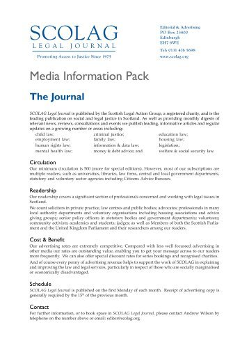 SCOLAG Media Information - Scottish Legal Action Group