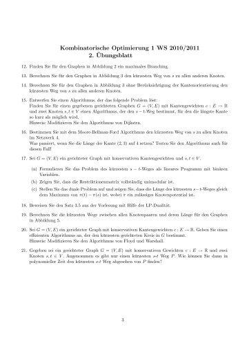 Kombinatorische Optimierung 1 WS 2010/2011 2. ¨Ubungsblatt