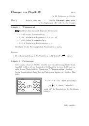 ¨Ubungen zur Physik IV - Theoretische Physik 1