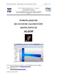 polaczenie spawane - Instytut Metod Komputerowych w Inżynierii ...