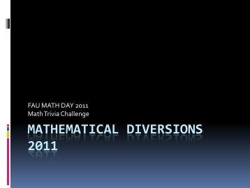 The 2011 Math Trivia Challenge