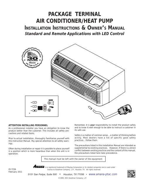 Owner's Manual - Amana PTACYumpu