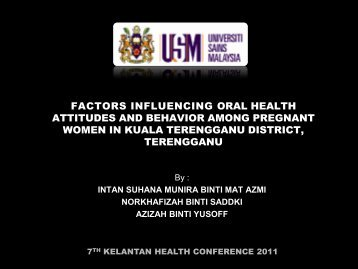 a study of factors influencing oral health attitudes and behaviour ...