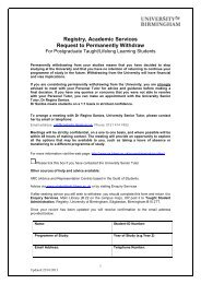 Postgraduate withdrawal form (PDF - 64KB) - University of Birmingham