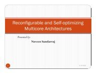Reconfigurable and Self-optimizing Multicore Architectures
