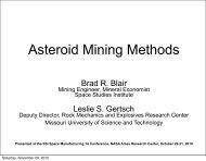 Mining Methods for Asteroid Utilization - Space Studies Institute