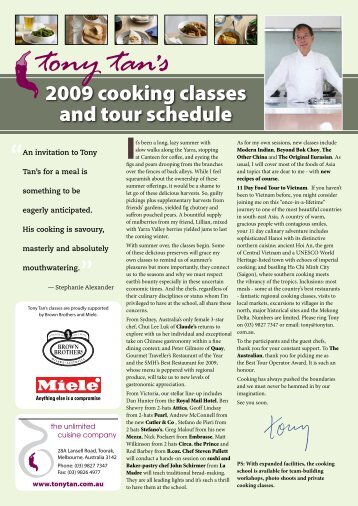2009 cooking classes and tour schedule - Tony Tan's Unlimited ...
