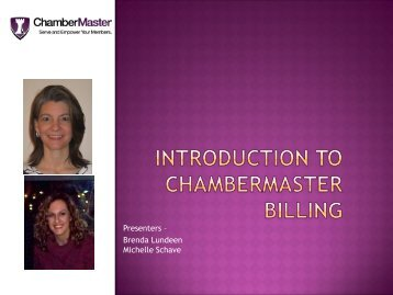 Introduction to Billing PowerPoint - ChamberMaster