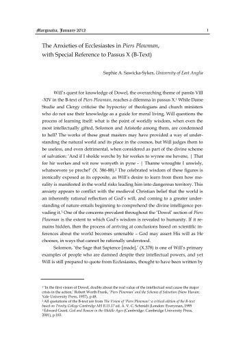 The Anxieties of Ecclesiastes in Piers Plowman, with ... - Marginalia