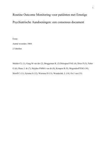 5 Artikel ROM voor patienten met Ernstige ... - GGZ Nederland