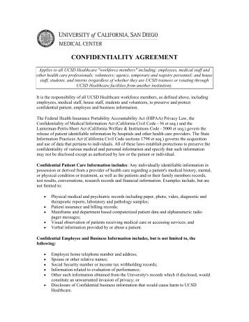 Confidentiality Agreement  Office Of Compliance Services