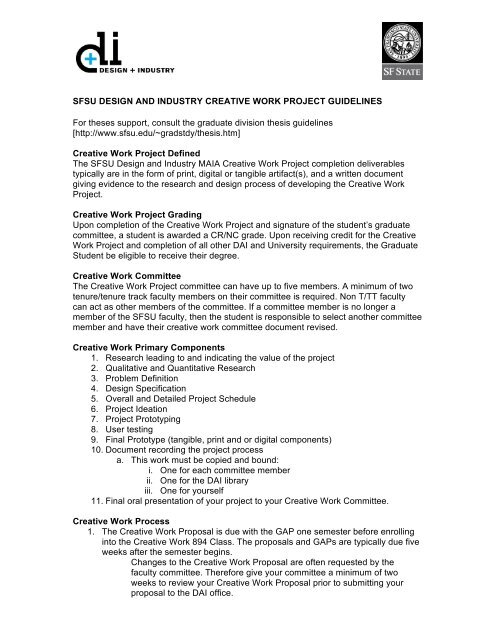 Sfsu thesis guidelines interaction design phd thesis