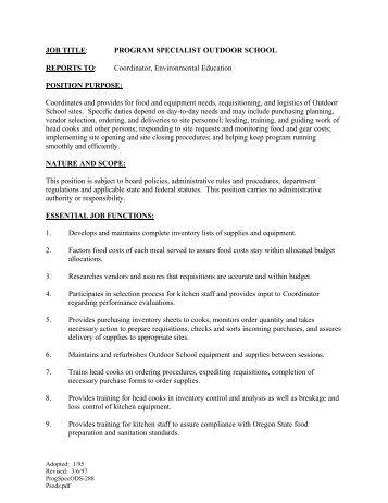 JOB TITLE: PROGRAM SPECIALIST OUTDOOR SCHOOL ...