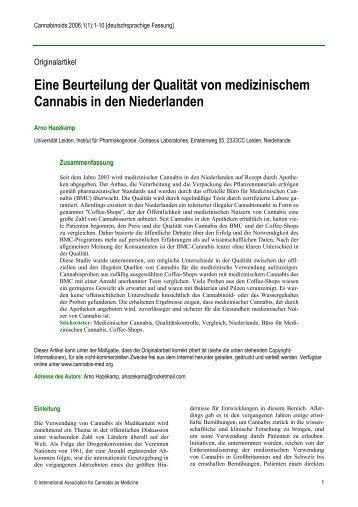 Eine Beurteilung der Qualität von medizinischem Cannabis in den ...