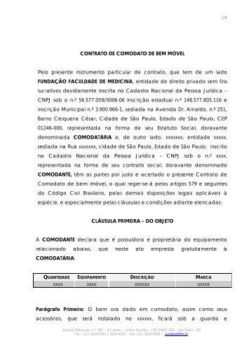 Contrato de Comodato de Bem Móvel Sem Fornecimento - FFM ...