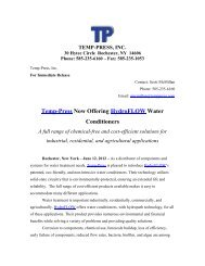 Temp-Press Now Offering HydroFLOW Water ... - Temp-Press Inc