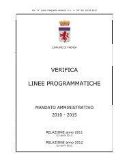 VERIFICA LINEE PROGRAMMATICHE - Comune di Faenza