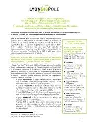 Création d'entreprises, nouveaux produits, nouvelles ... - Lyonbiopôle