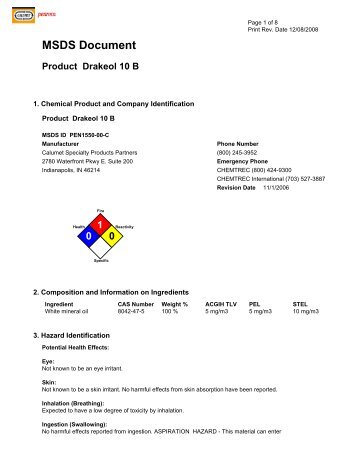 MSDS Document Product Drakeol 10 B - Mueller Co.