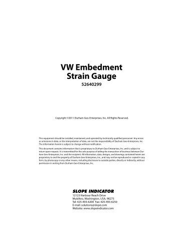 Applications Vibrating Wire Embedment Strain Gauge DATA