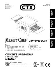 OWNER'S OPERATING MANUAL Conveyor Oven