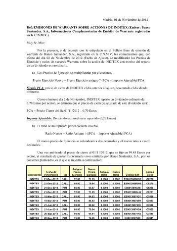 EMISIONES DE WARRANTS SOBRE ACCIONES DE ... - Santander