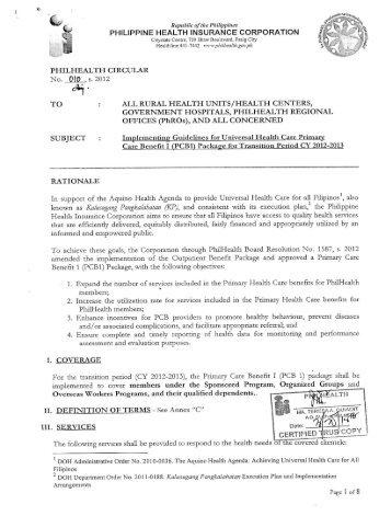 PhilHealth Circular No. 10, s.2012 - Philippine Health Insurance ...