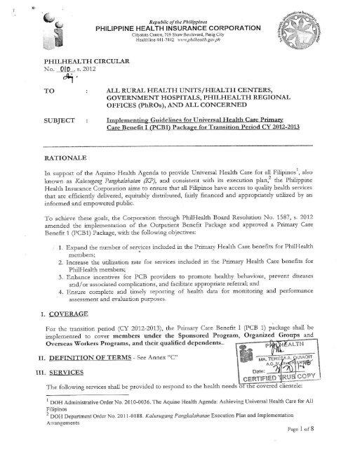 Philhealth Circular No 10 S 2012 Philippine Health Insurance