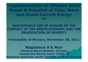 Implementation of Offshore Wind Power & Potential of Tidal ... - EUCC