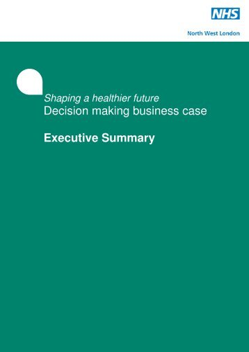 SaHF DMBC Executive Summary (extract from Volume 1).