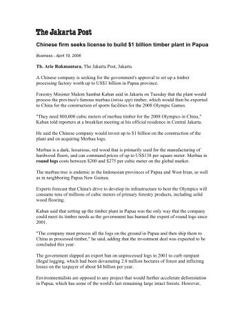 Chinese firm seeks license to build $1 billion timber plant in Papua