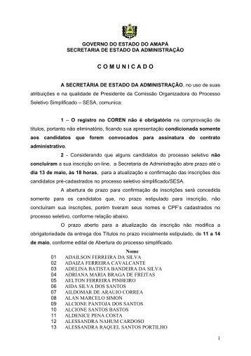 C O M U N I C A D O - SEAD - Governo do Estado do Amapá