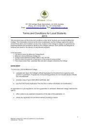 Terms and Conditions for Local Students 2013 - Billanook College