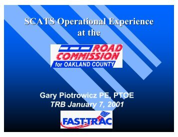SCATS Operational Experience at the - Traffic Signal Systems ...