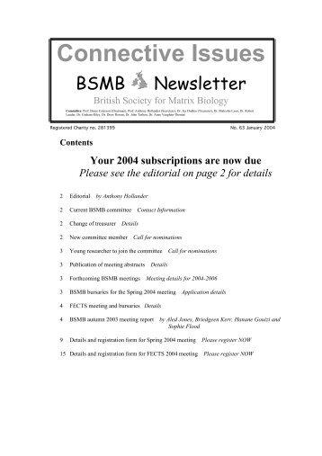 Newsletter No. 63 - British Society for Matrix Biology