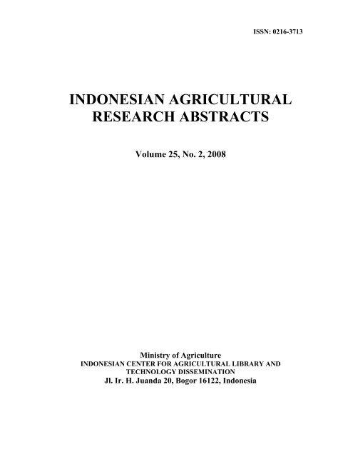 IARA Vol. XXV No. 2 Th. 2008 (pdf, 1001, kb) - Pustaka Deptan