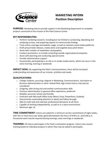 MARKETING INTERN Position Description   Reuben H. Fleet .