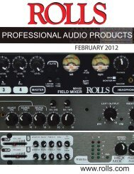 www.rolls.com PROFESSIONAL AUDIO PRODUCTS