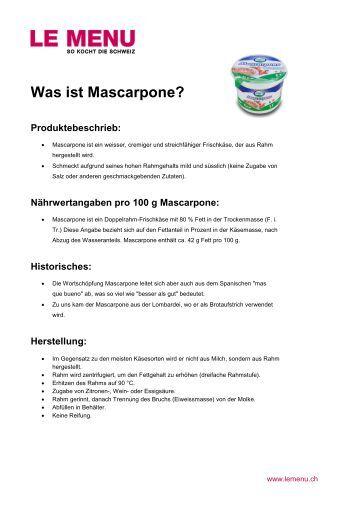 Facts rund um Mascarpone zum Ausdrucken (PDF - Le Menu