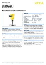 VEGABAR 51 - Pressure transmitter with isolating ... - Insatech
