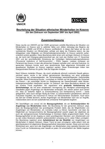 Beurteilung der Situation ethnischer Minderheiten im Kosovo - unhcr