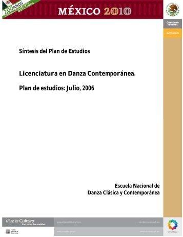 SINTESIS DE PLANES DE ESTUDIO DEL AREA DE DANZA - sgeia